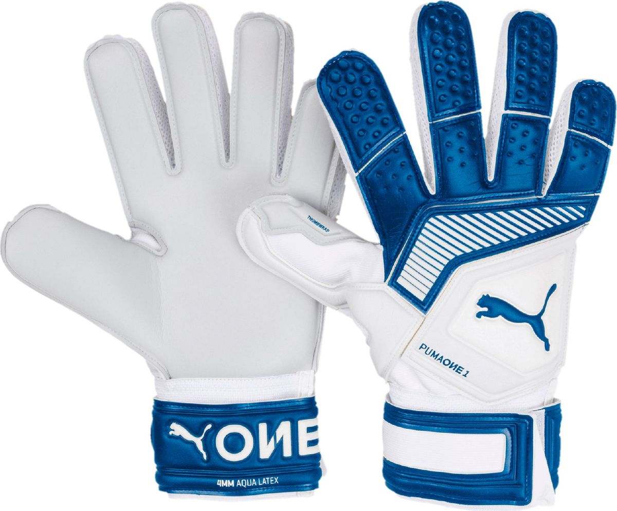 Перчатки вратарские Puma One Grip 1 Aqua, 04147301, белый, синий, размер 7,5 цена