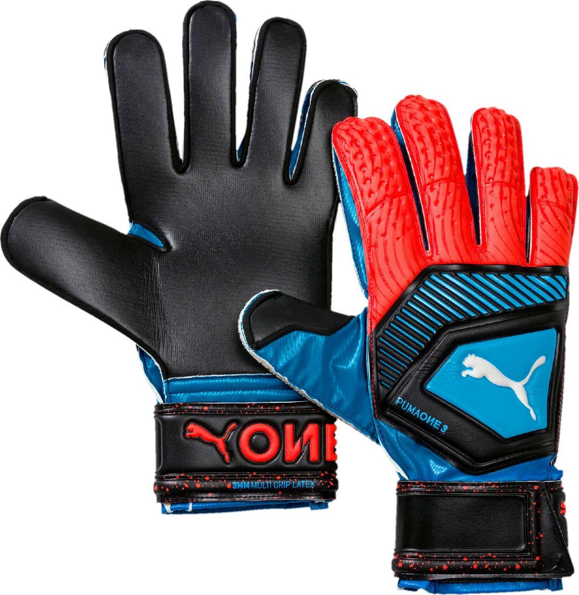 Перчатки вратарские Puma One Protect 3, 04148021, голубой, черный, размер 8 цена