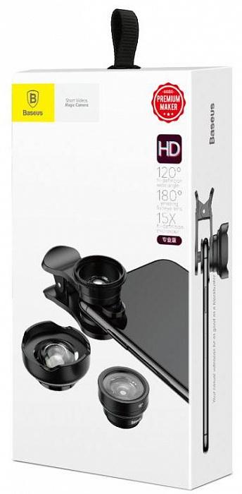 Фото - Объектив накладной Baseus набор для телефона, черный объективы