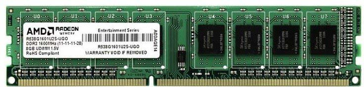 Модуль оперативной памяти AMD Radeon DDR3 8GB 1600Mhz Long DIMM, R538G1601U2S-U все цены