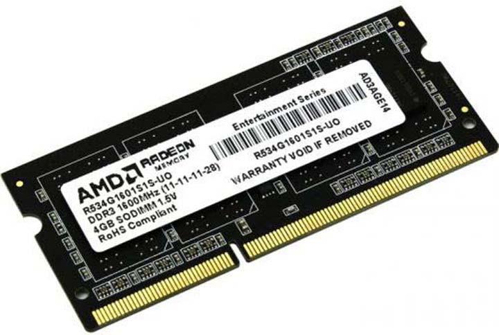 Модуль оперативной памяти AMD Radeon DDR3 4GB 1600Mhz So-DIMM, R534G1601S1S-U