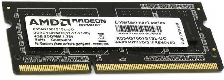 Модуль оперативной памяти AMD Radeon DDR3 4GB 1600Mhz So-DIMM, R534G1601S1SL-U