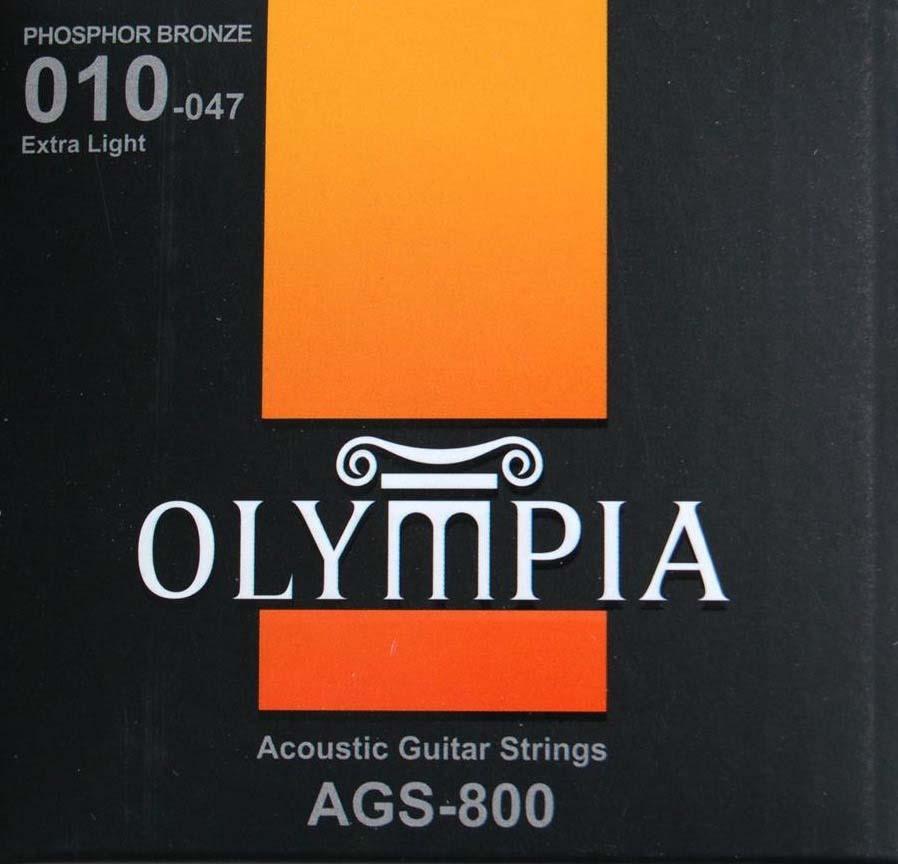 Струны для акустической гитары Olympia Phosphor Bronze (10-14-23w-30-39-47), AGS800