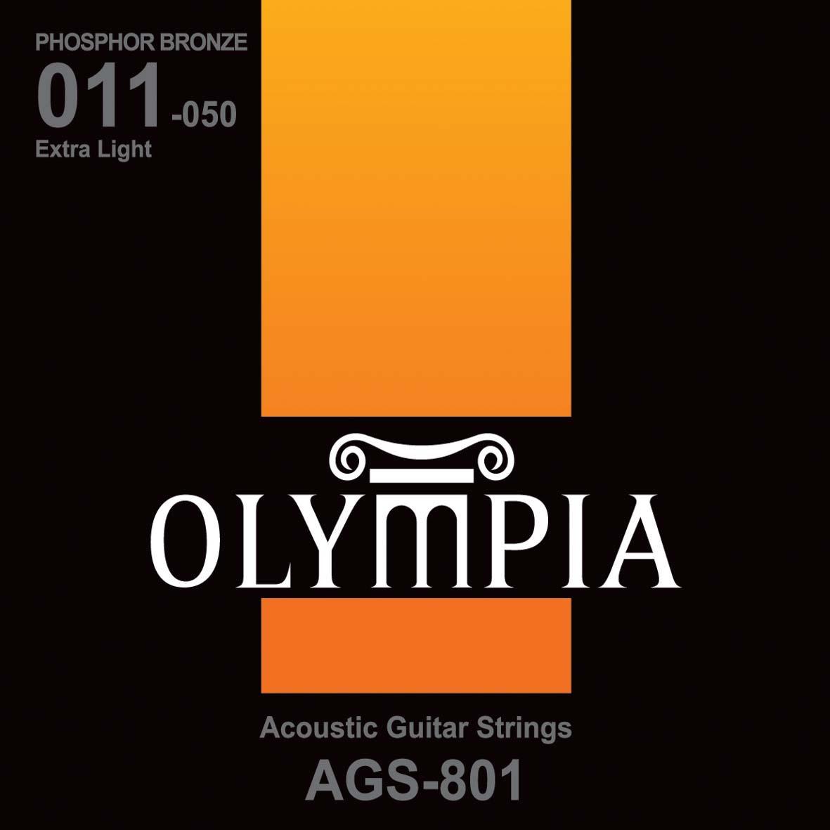 Струны для акустической гитары Olympia Phosphor Bronze (11-15-23w-30-39-50), AGS801
