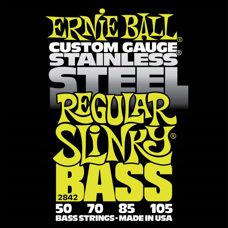 Струны для бас-гитары Ernie Ball Stainless Steel Bass Regular Slinky (50-70-85-105), P02842 me 009 double stars stainless steel stud earrings silver pair