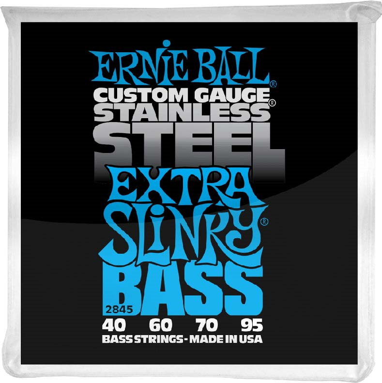 Струны для бас-гитары Ernie Ball Stainless Steel Bass Extra Slinky (40-60-70-95), P02845 me 009 double stars stainless steel stud earrings silver pair