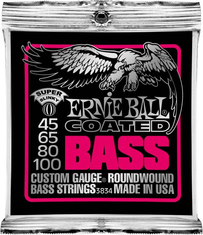 Струны для бас-гитары Ernie Ball Coated Bass Super Slinky (45-65-80-100), P03834 1more super bass headphones black and red