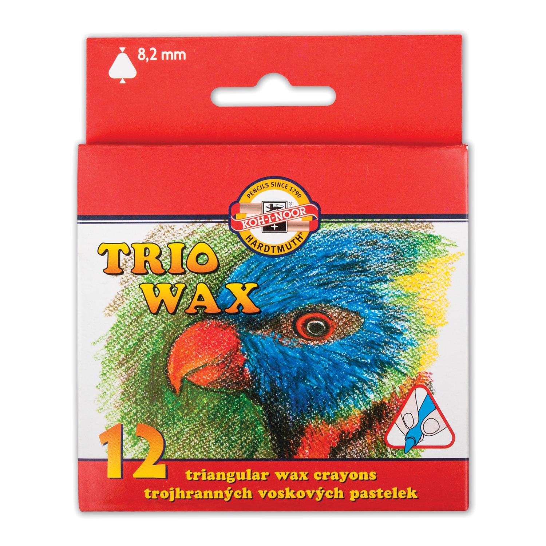 """Мелки KOH-I-NOOR Восковые """"Trio Wax"""", 12 цветов, трехгранные"""