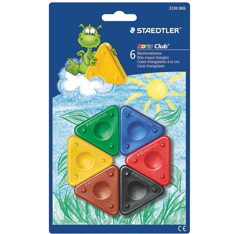 """Мелки STAEDTLER Восковые (Германия) """"Noris Club"""", 6 цветов, треугольные, идеально подходят для детского творчества"""