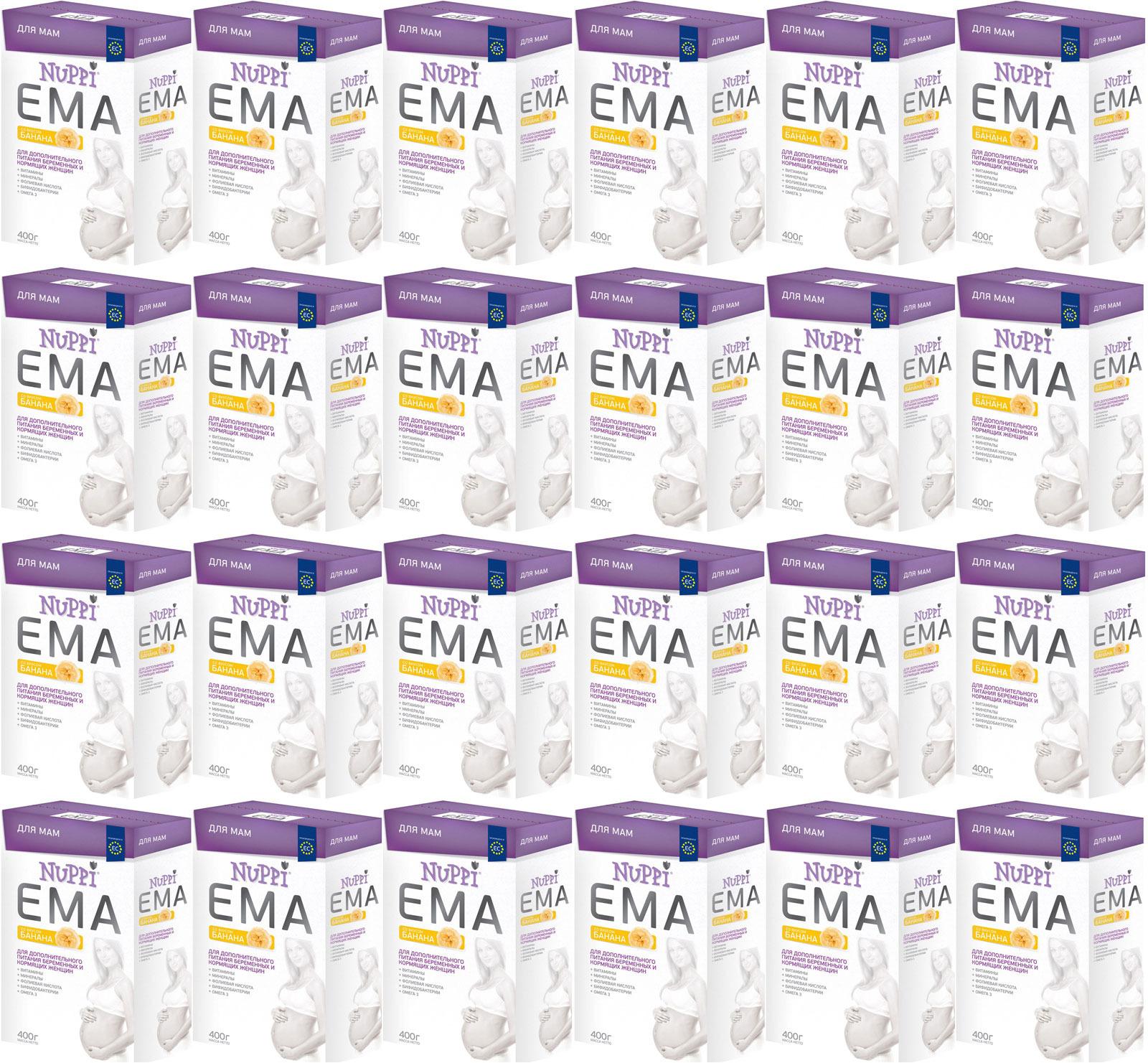 Nuppi Смесь Эма молочная для беременных и кормящих мам со вкусом банана, 24 шт по 400 г витамины для беременных с dha