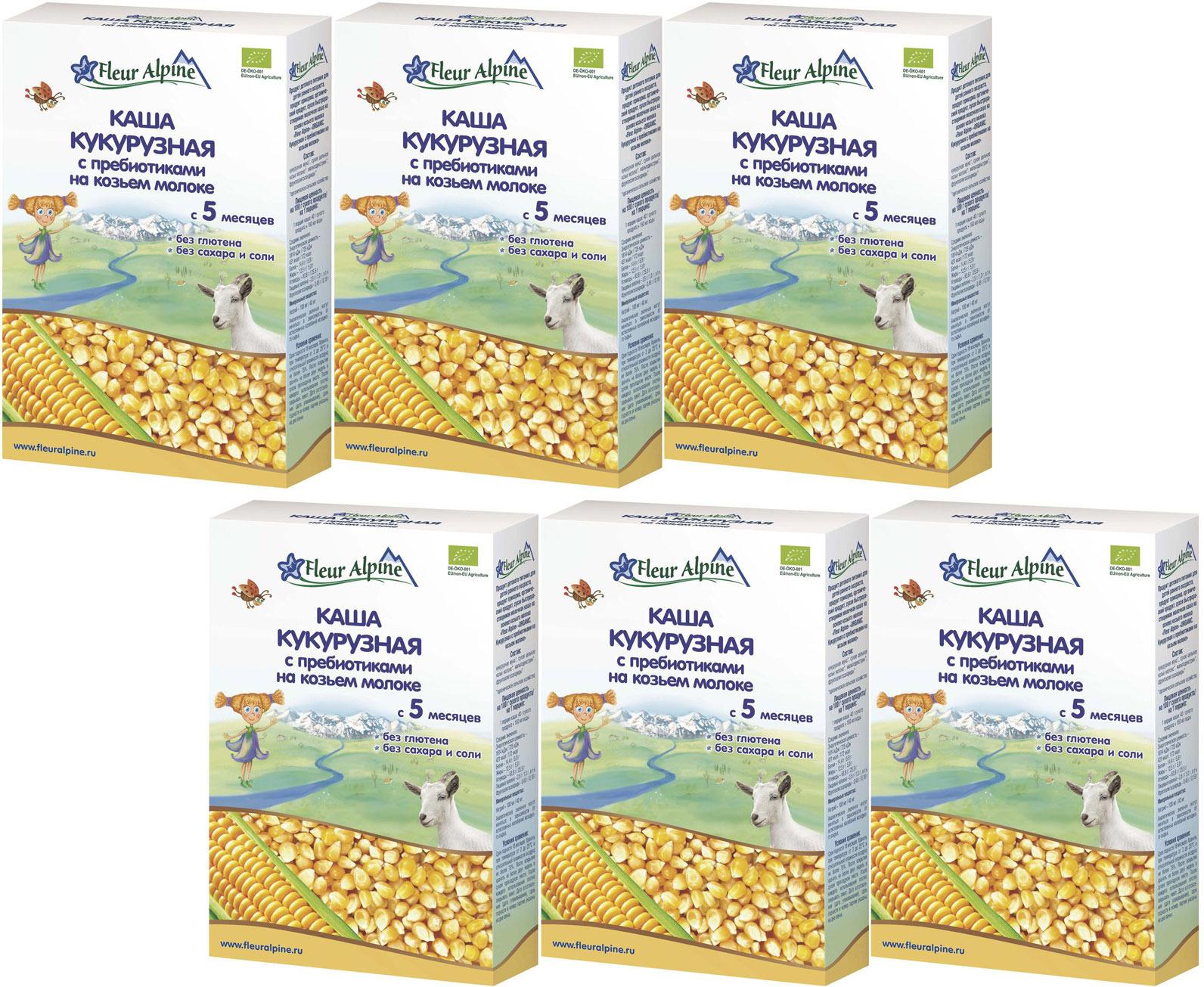 Флер Альпин Органик каша на козьем молоке кукурузная с пребиотиками, с 5 месяцев, 6 шт по 200 г кабрита 2 голд смесь молочная для детей на козьем молоке 400г