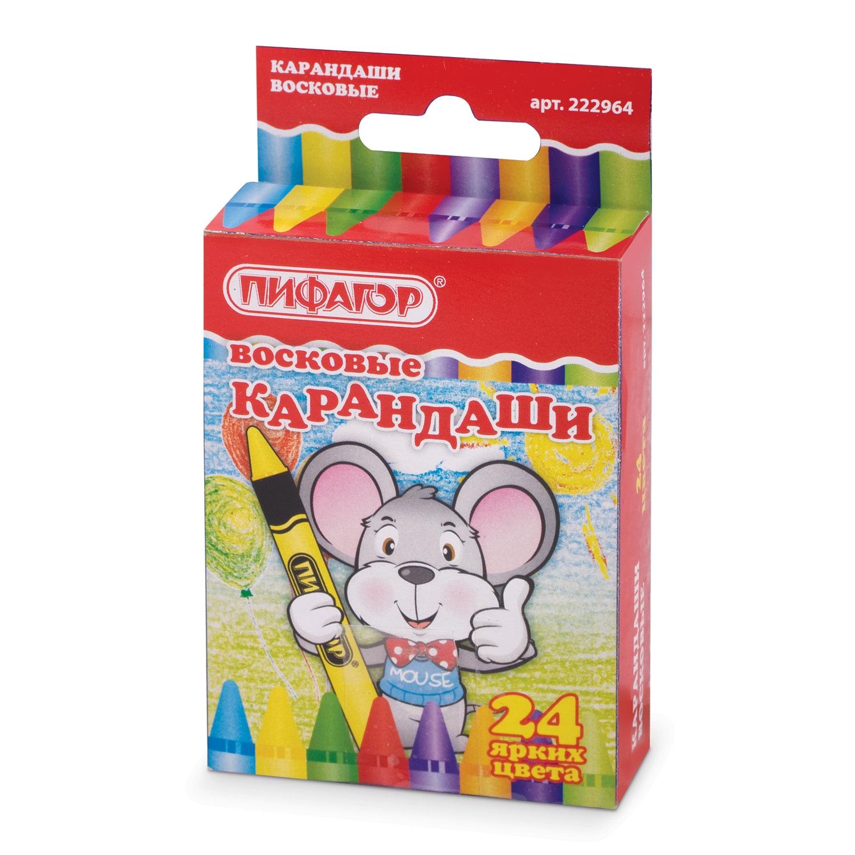 Мелки ПИФАГОР Восковые карандаши, 24 цвета карандаши восковые мелки пастель toii карандаши восковые цветные 12 цветов