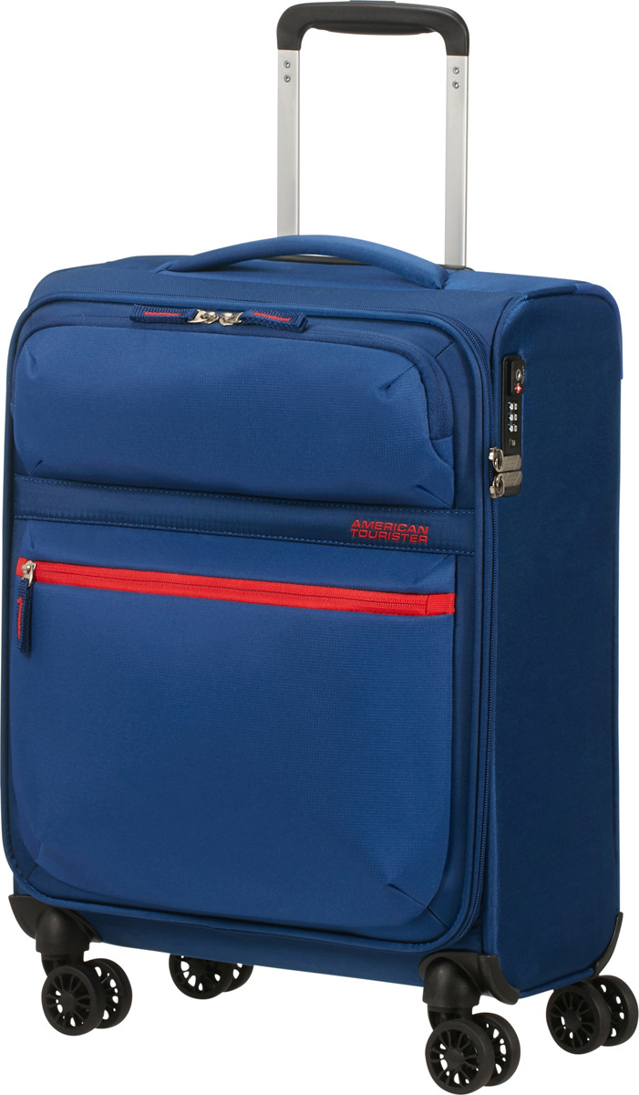 Чемодан American Tourister, 77G*11002, 4-колесный, синий, S (до 55 см), 42 л чемодан american tourister wavebreaker sunny yellow 67 см 4 колеса