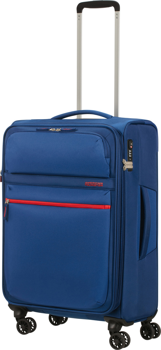 Чемодан American Tourister, 77G*11004, 4-колесный, синий, M (55-70 см), 71 л чемодан american tourister 4 колеса 71 см