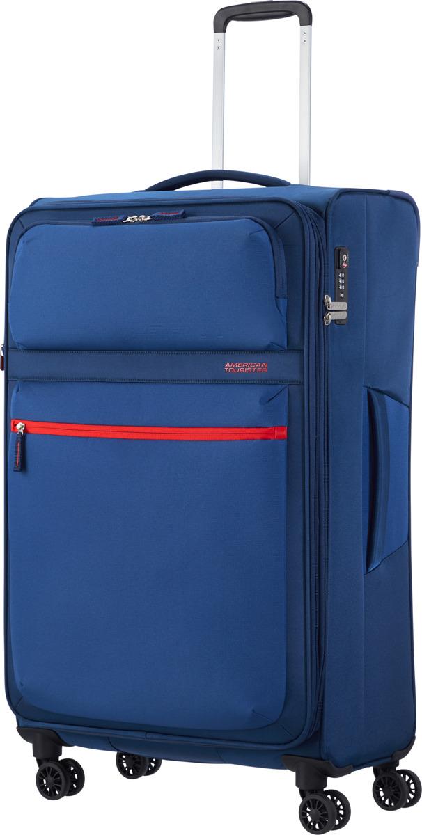 Чемодан American Tourister, 77G*11005, 4-колесный, синий, L (70-100 см), 107 л чемодан american tourister 4 колеса 71 см