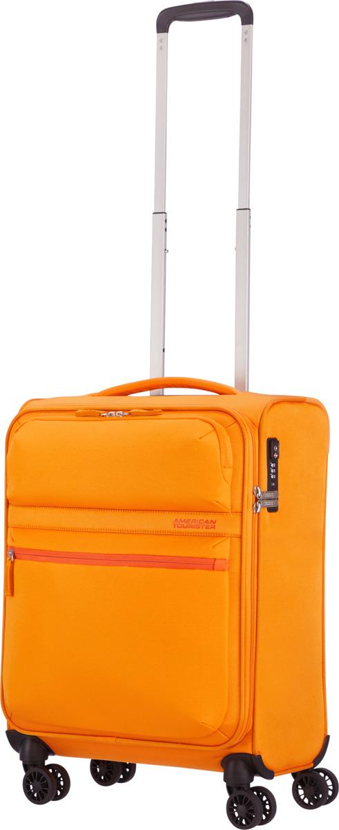 Чемодан American Tourister, 77G*16002, 4-колесный, желтый, S (до 55 см), 42 л чемодан american tourister wavebreaker sunny yellow 67 см 4 колеса