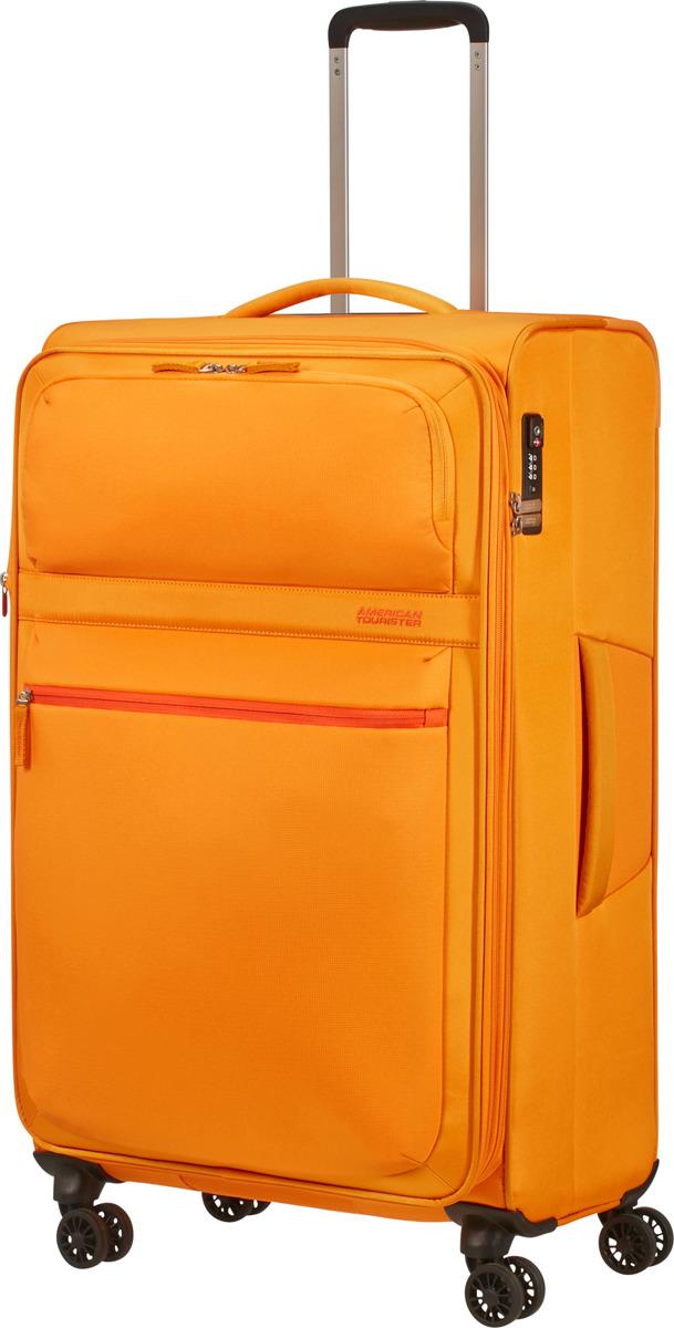 Чемодан American Tourister, 77G*16005, 4-колесный, желтый, L (70-100 см), 107 л чемодан american tourister wavebreaker sunny yellow 67 см 4 колеса