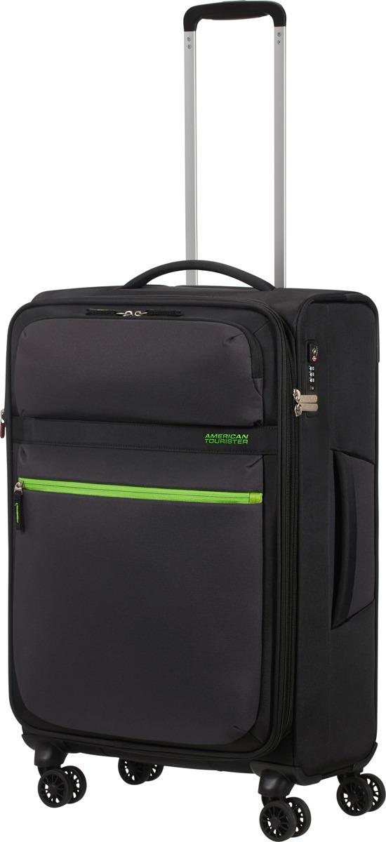 Чемодан American Tourister, 77G*19004, 4-колесный, черный, M (55-70 см), 71 л чемодан american tourister 4 колеса 71 см