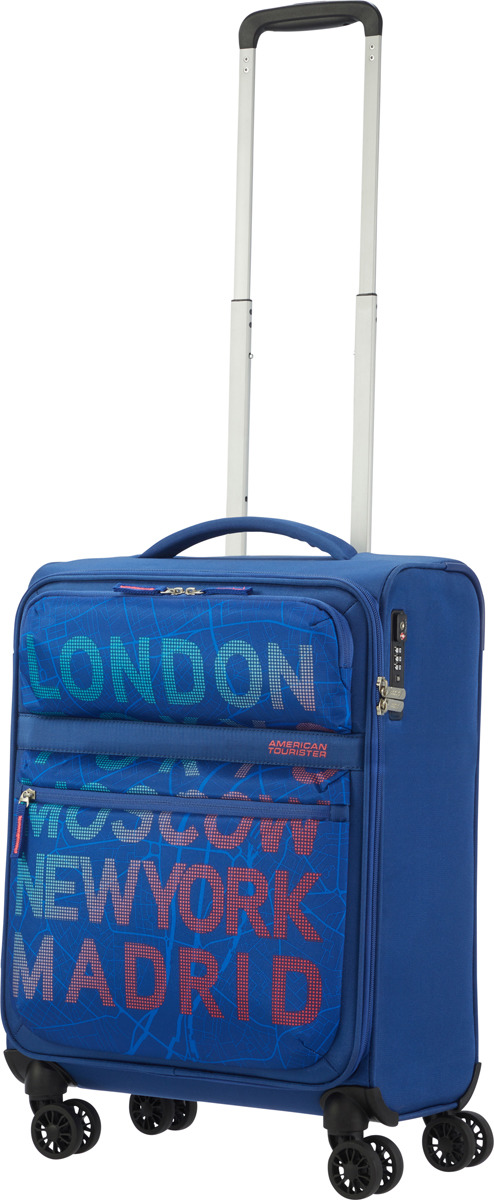 цена Чемодан American Tourister, 77G*21003, 4-колесный, синий, S (до 55 см), 42 л онлайн в 2017 году