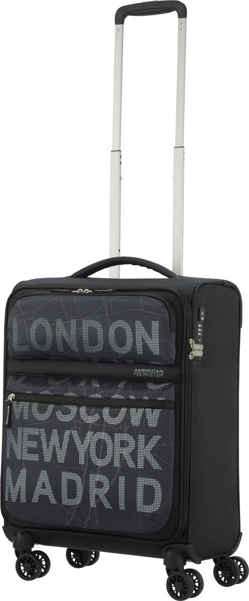 цена Чемодан American Tourister, 77G*29003, 4-колесный, черный, S (до 55 см), 42 л онлайн в 2017 году