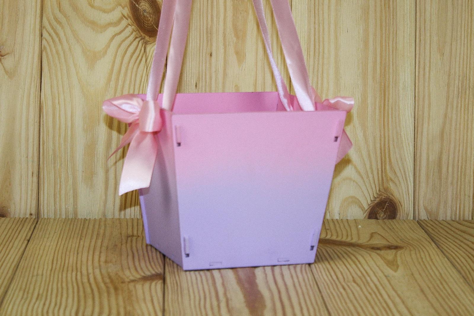 Подарочная упаковка Мастер Дизайн ПУ431020509, розовый, сиреневыйПУ431020509подарочная коробка-сумка,МДФ,с градиентом