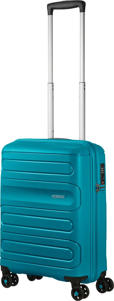 цена Чемодан American Tourister, 51G*51001, 4-колесный, сине-зеленый, S (до 55 см), 35 л онлайн в 2017 году