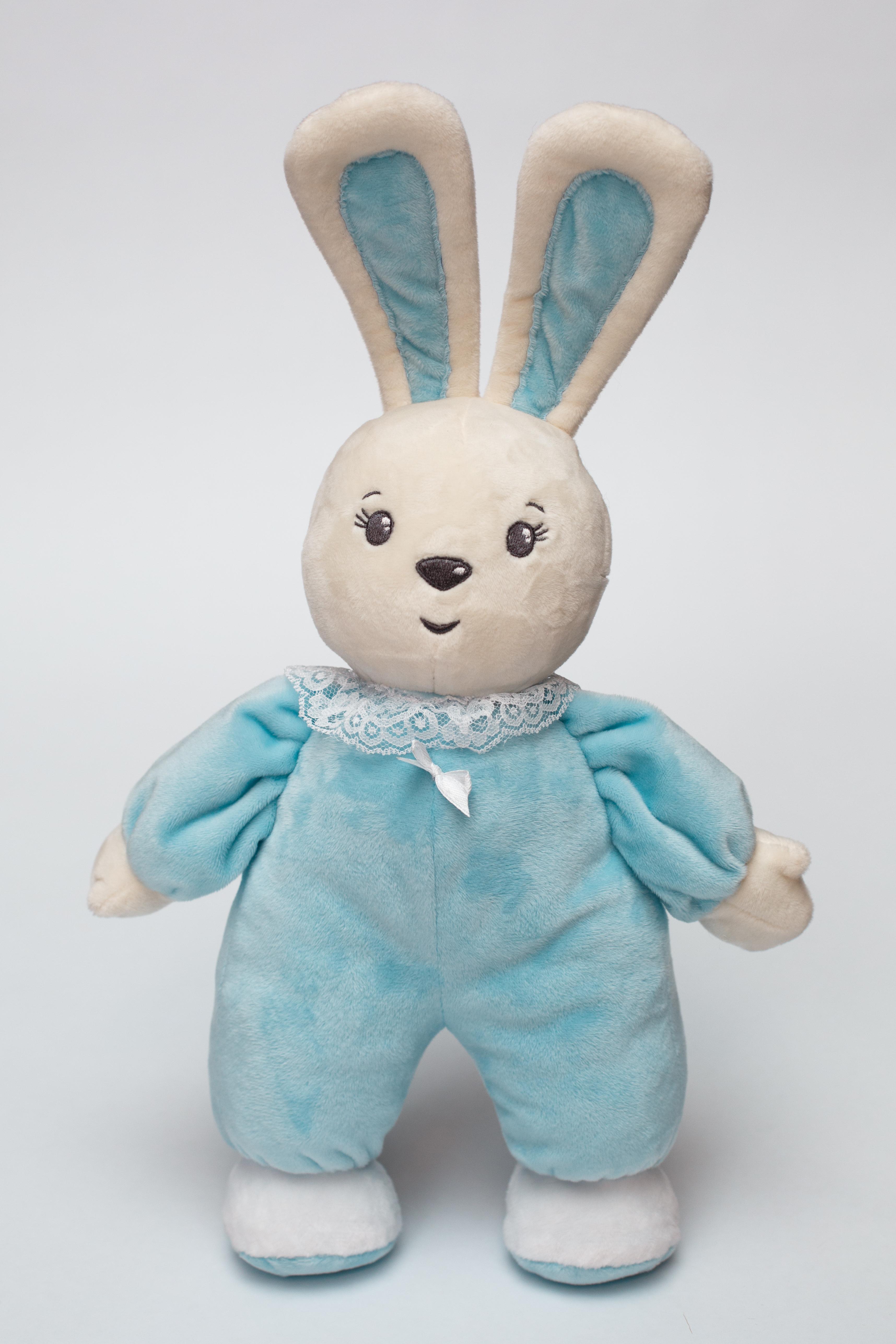 Мягкая игрушка Princess Love Зайчик-погремушка Малыш голубой голубой