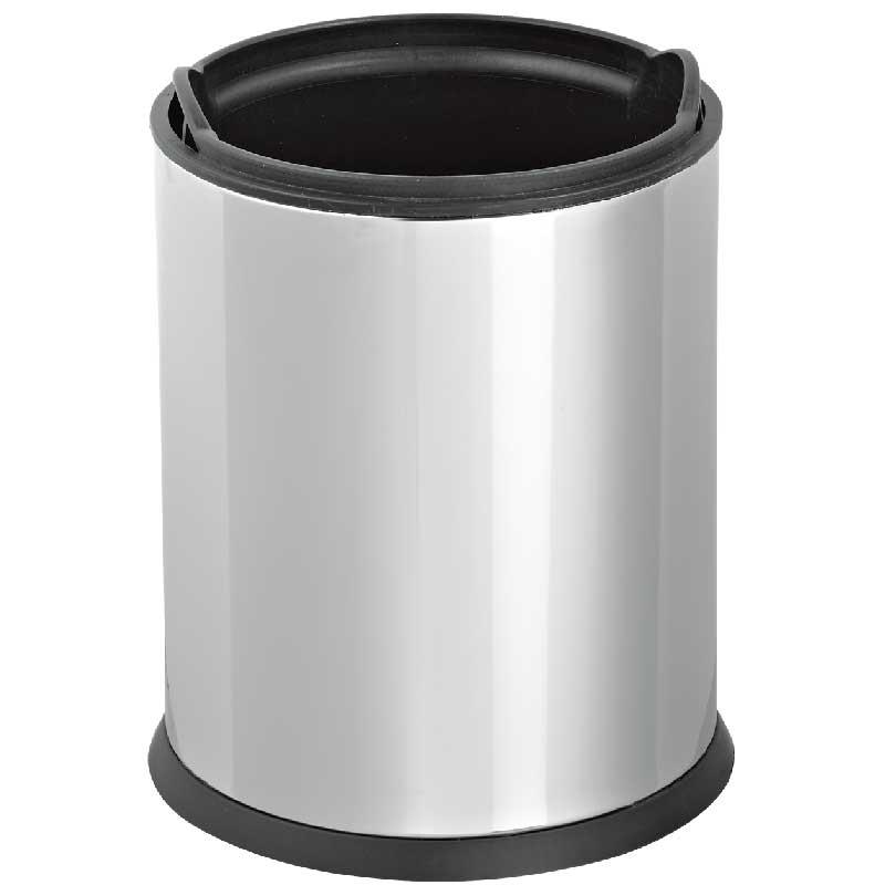 Корзина для бумаг Efor Metal, 319 с внутренним пластиковым ведром хром 5 л, Нержавеющая сталь корзина для бумаг цельнолитая синяя 13 литров