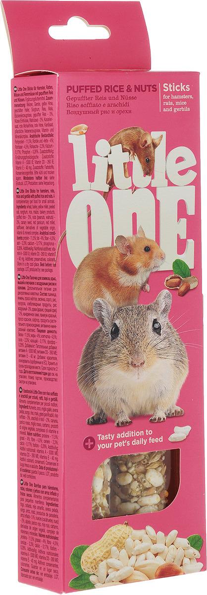 Лакомство для хомяков, крыс, мышей и песчанок Little One Sticks, с воздушным рисом и орехами, 2 х 55 г лакомство для хомяков крыс мышей и песчанок little one sticks с фруктами и орехами 2 х 60 г