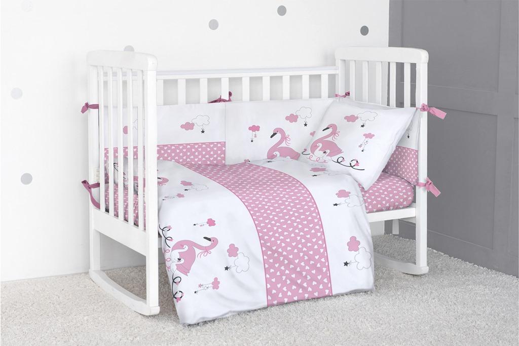 Бортик для кроватки Bonne Fee Гуси лебеди, розовый комплект постельного белья детский bonne fee опдр 110х140 3 розовый