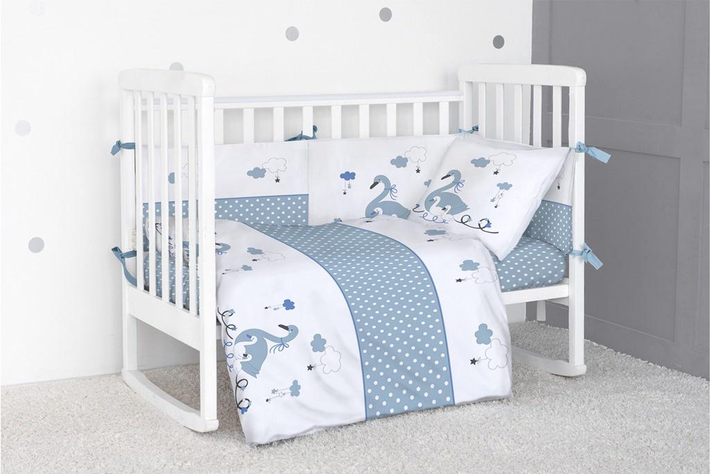 Бортик для кроватки Bonne Fee Гуси лебеди, голубой bonne fee плед детский слоны 100 см х 145 см цвет желтый