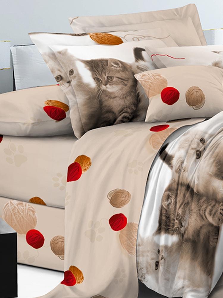 Комплект постельного белья ИМАТЕКС IM0374-2-70х70, красный, бежевый, темно-бежевый постельное белье cotton life love you 70х70 см 1 5 спальное