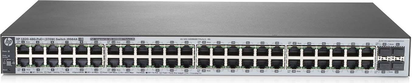 Коммутатор HPE OfficeConnect 1820 J9984A 48G 4SFP 24PoE+ 370W управляемый