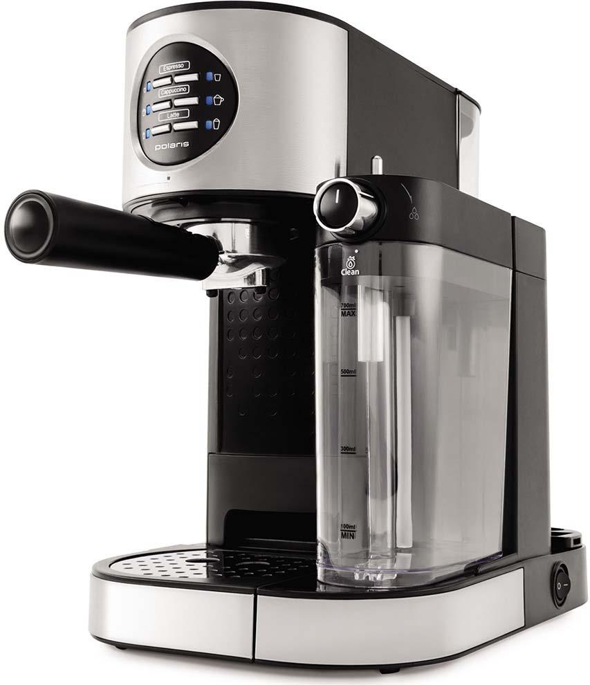 Кофеварка рожковая эспрессо Polaris PCM 1530AE Adore Cappuccino, стальной, черный