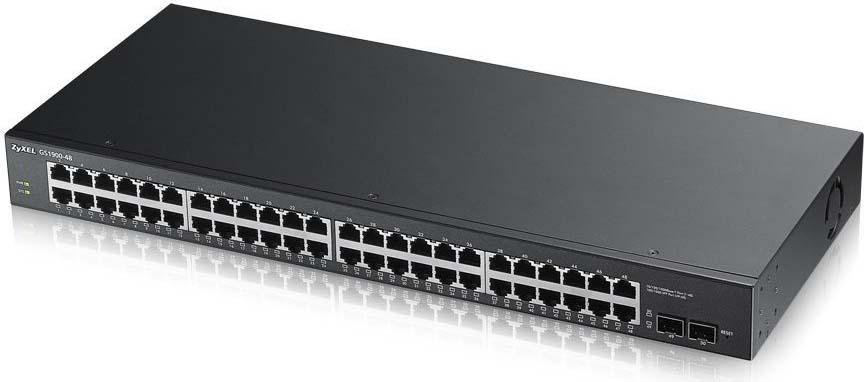 Коммутатор Zyxel GS1900-48HP GS1900-48HP-EU0101F 24G 2SFP 24PoE 170W управляемый