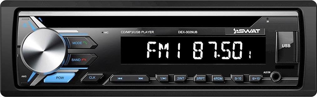 Автомагнитола CD Swat DEX-3029UBDEX-3029UBSWAT DEX-3029UB - автомагнитола 1din, с прекрасным качеством звука и отличным дизайном. Модель выпускается в типоразмере 1 din. Она совместима со множеством машин, стоит проверить возможность установки в вашем автомобиле. Подключение устройства происходит к сети 12 В. Для вывода сигнала используются 4 канала по 50 Вт.