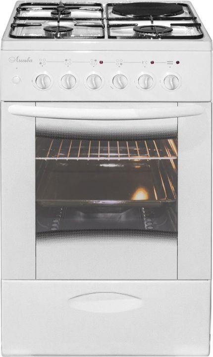 Плита комбинированная Лысьва ЭГ 1/3г14 МС-2у, стеклянная крышка, белый