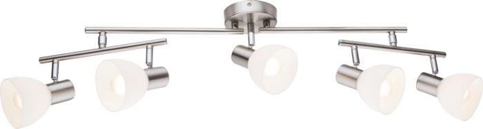 Настенно-потолочный светильник Globo New 54918-554918-5Спот с тремя плафонами Globo 54918-5 серии Enibas в современном стиле создаст в помещении атмосферу комфорта. Под 5 ламп с цоколем E14.