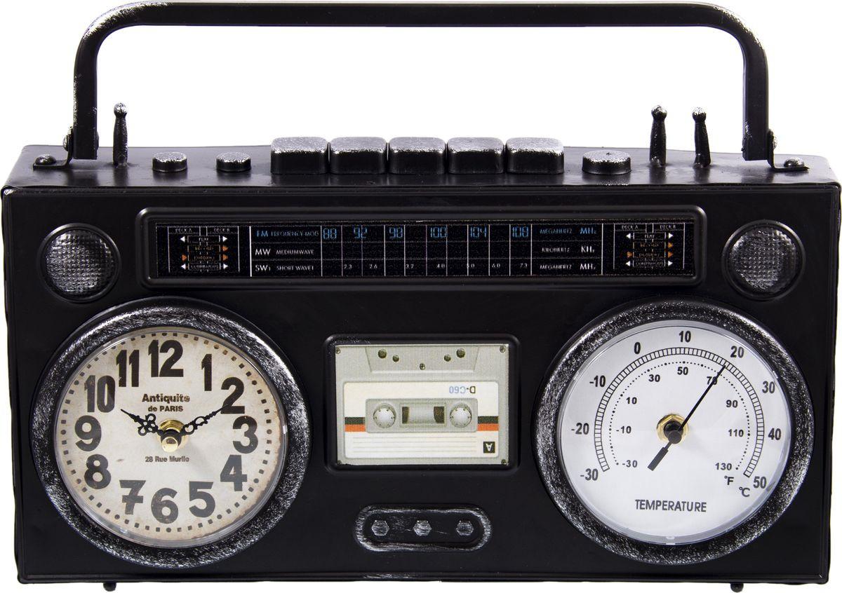 Настольные часы-термометр Русские подарки Ретро магнитофон, 138631, черный, 36 х 21 см138631Часы настольные Ретро магнитофон выполнены из металла. Работают от батареек типа АА (в комплект не входят).