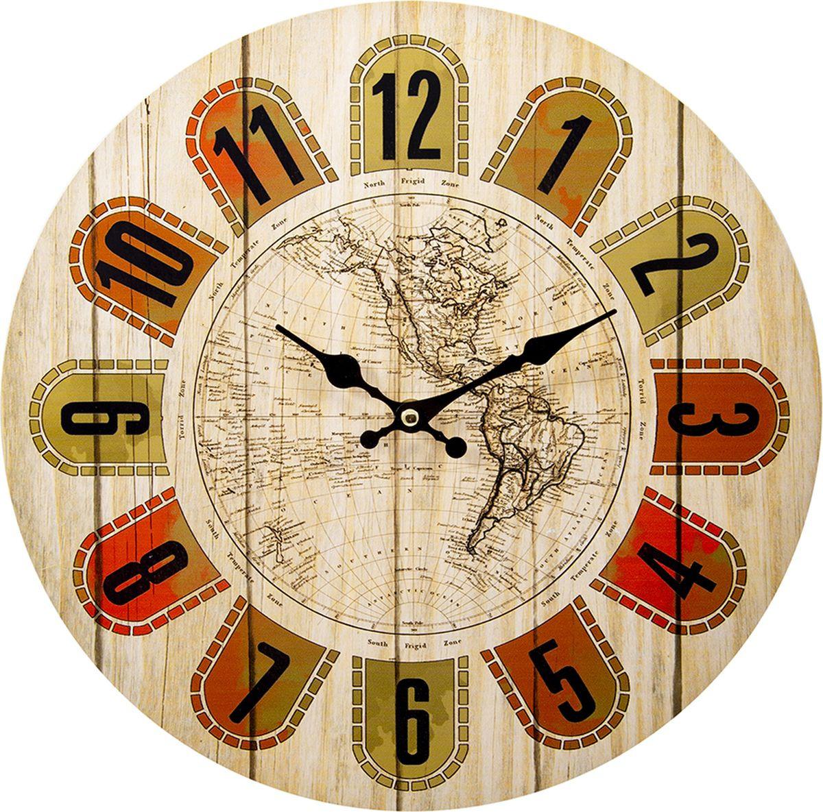Настенные часы Русские подарки, 138641, мультиколор, 34 х 34 см стоимость