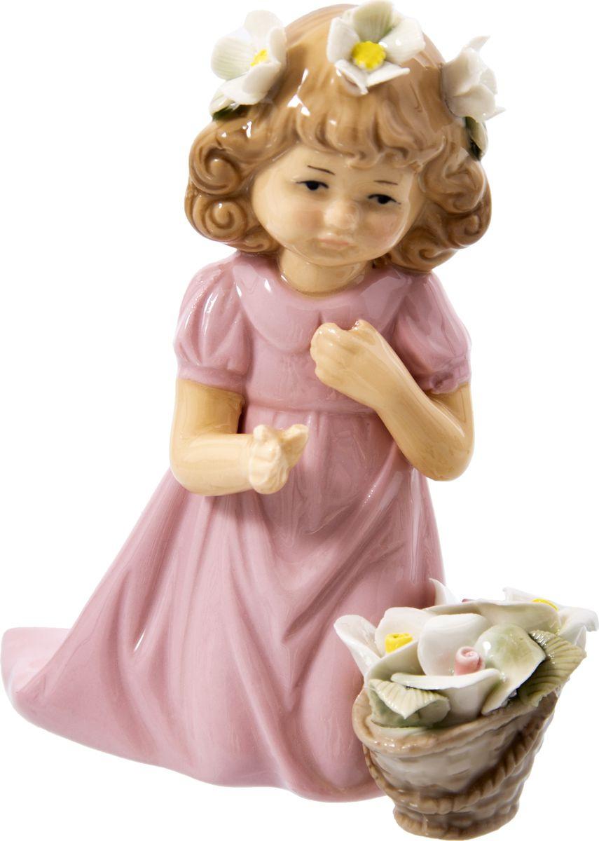 Статуэтка Русские подарки Девочка, 110819, розовый, 8 х 13 х 14 см игрушка ёлочная русские подарки зимние мотивы олень 8 х 1 х 8 см