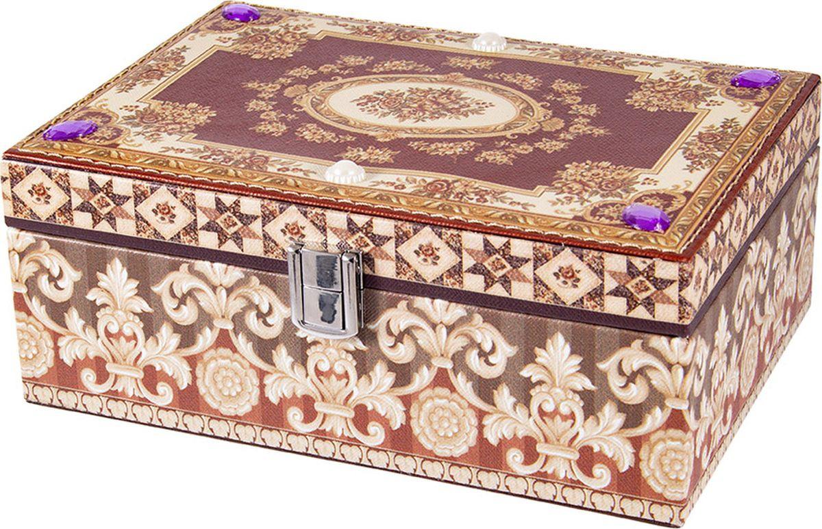 Шкатулка для ювелирных украшений Русские подарки, 84335, мультиколор, 23 х 17 х 10 см
