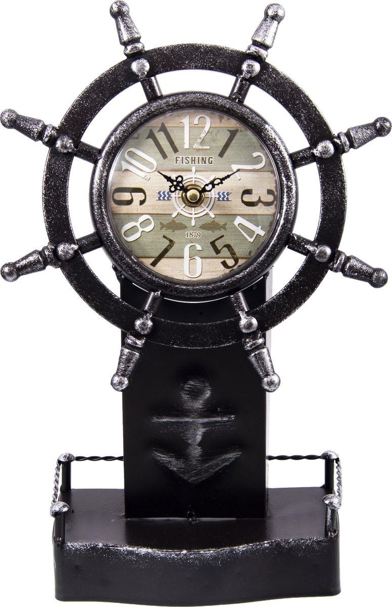 лучшая цена Настольные часы Русские подарки Штурвал, 138629, черный, 34 х 22 см