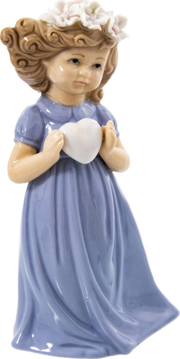 Статуэтка Русские подарки Девочка, 110821, голубой, 8 х 10 х 17 см игрушка ёлочная русские подарки зимние мотивы олень 8 х 1 х 8 см
