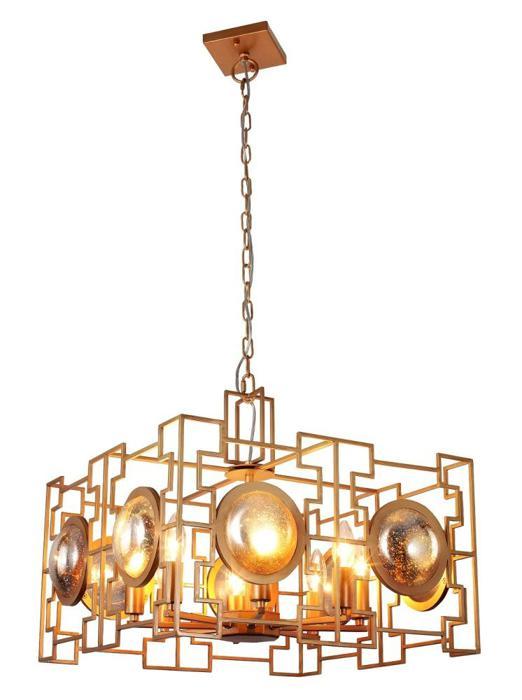купить Подвесной светильник Crystal Lux CUENTO SP8 GOLD, E14, 60 Вт по цене 45000 рублей