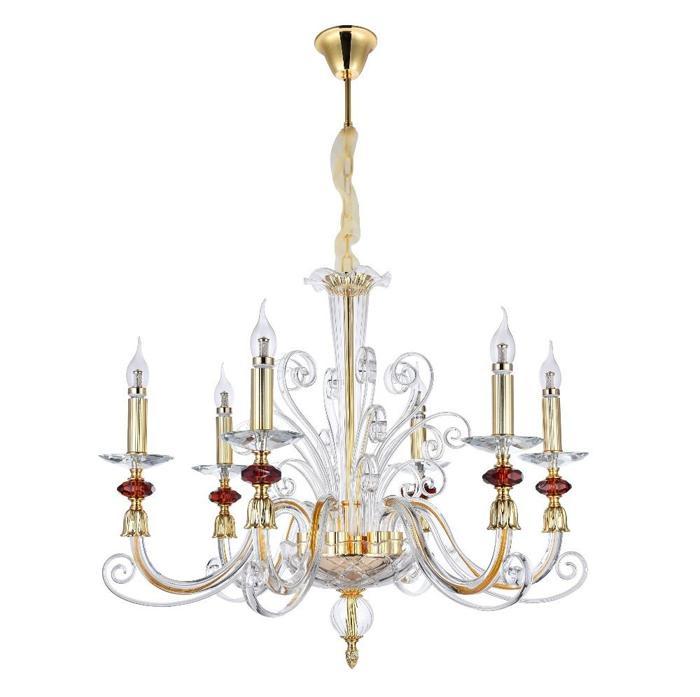 Подвесной светильник Crystal Lux CATARINA SP6 GOLD/TRANSPARENT-COGNAC, прозрачный crystal lux подвесная люстра crystal lux ines sp6 gold transparent