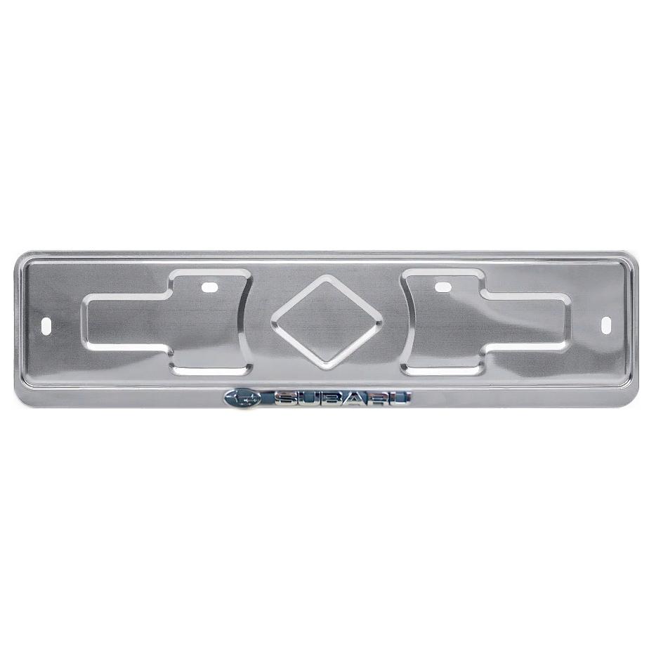 Рамка госномера Дельта ПРО SUBARU, нержавеющая сталь, серебрянный цвет, рельефная надпись, серебристый