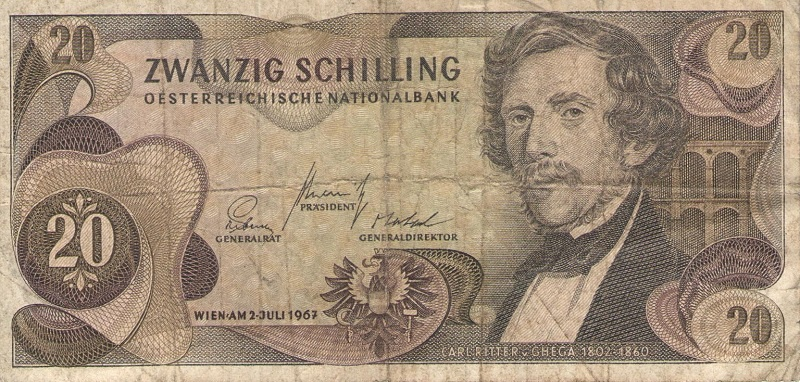 Банкнота номиналом 20 шиллингов. Австрия. 1967 год банкнота австрия р75