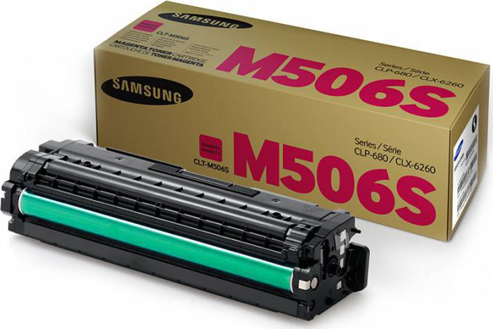 Картридж Samsung CLT-M506S/SEE, пурпурный, для лазерного принтера, оригинал картридж samsung clt m506l для samsung clp 680 clx 6260 пурпурный