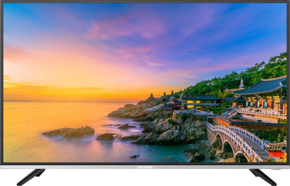 Телевизор HYUNDAI H-LED40F401BS2, черный, серебристый телевизор hyundai h led19r401bs2 черный